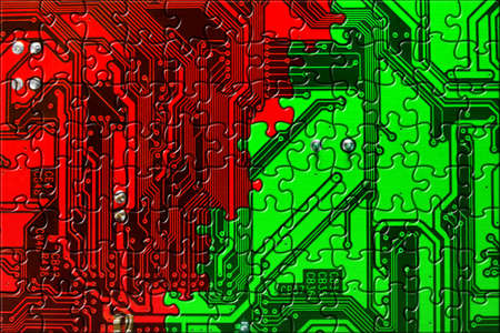Computer board made of puzzle, technology concept background photo