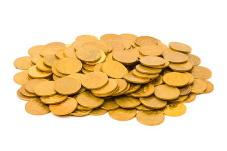 Heap of coins, isolated on white background photo