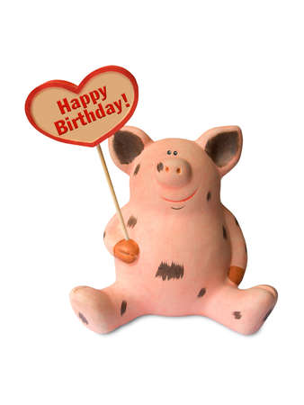 Funny pig with heart Happy birthday, isolated on white background photo