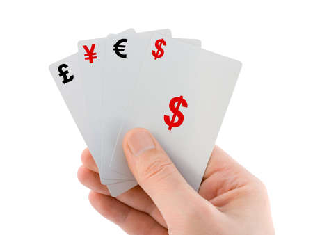 Hand and money cards, isolated on white background photo