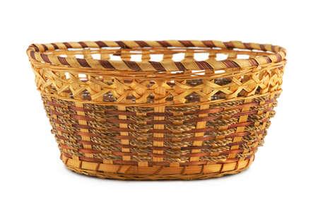 Empty wood basket, isolated on white background photo