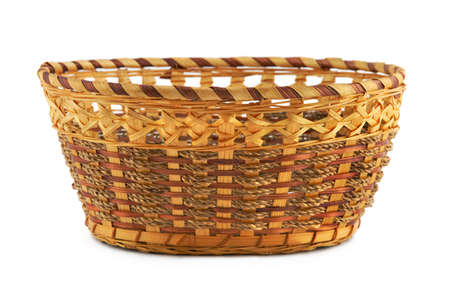 Empty wood basket, isolated on white background photo