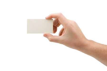 Paper card in hand, isolated on white background Stock Photo - 2801159