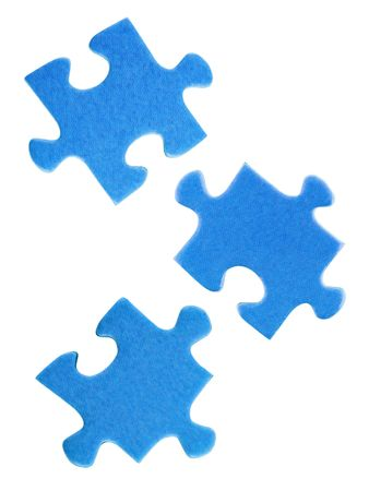 three objects: Slices of puzzle, isolated on white background