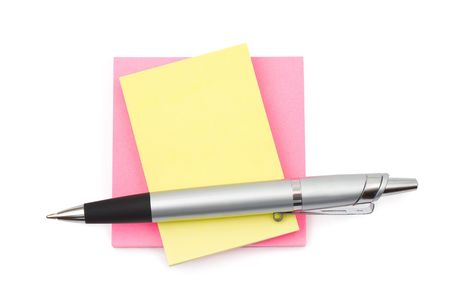 Pen and paper, isolated on white background photo
