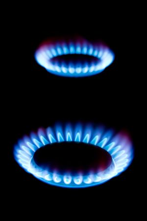 Flames of gas, isolated on black background photo