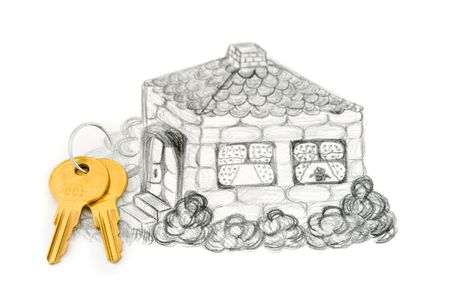 Drawing house and keys, isolated on white background Stock Photo - 2885961