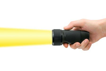 taschenlampe: Taschenlampe in der Hand, isoliert auf wei�em Hintergrund Lizenzfreie Bilder