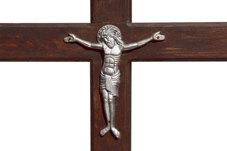 nailed: Jesus and cross, isolated on white background