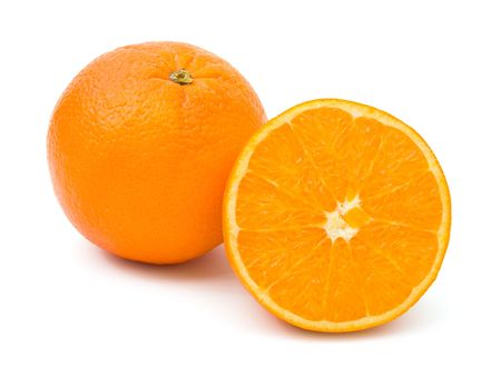 Ripe orange fruits, isolated on white background photo
