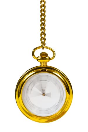 Retro gold clock - time passing concept, isolated on white background photo