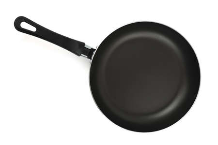 panful: Black frying pan (top view), isolated on white background Stock Photo