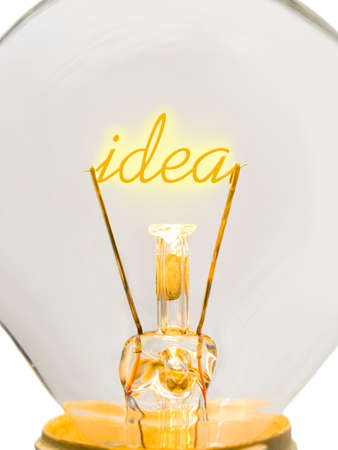 Word Idea in lamp, technology concept photo