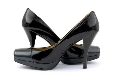 Black women shoes, isolated on white background Stock Photo - 2997186