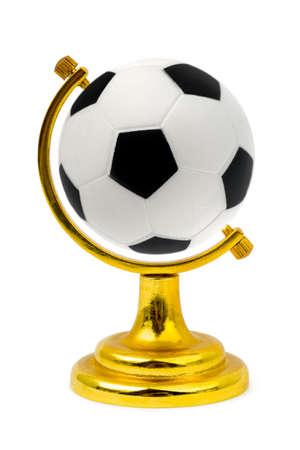 ball like: Soccer ball like a globe, isolated on white background Stock Photo