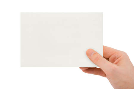 Paper card in hand isolated on white background Stock Photo - 3080041