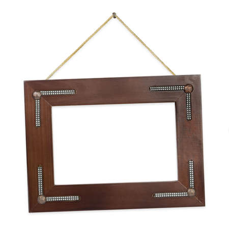 Retro frame on string, isolated on white background photo