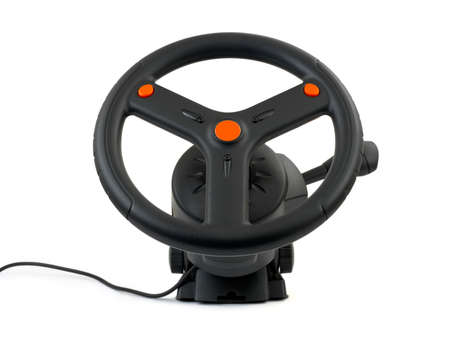 Computer steering wheel isolated on white background Stock Photo - 3105455