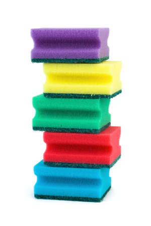 Stack of sponges isolated on white background photo