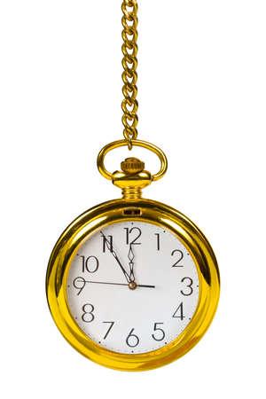 Retro gold clock, isolated on white background Stock Photo - 3112159