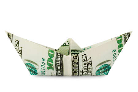 Ship made of money, isolated on white background Stock Photo - 3118386