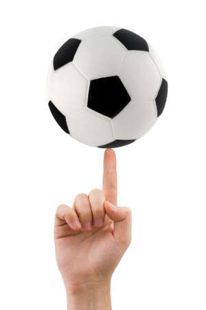 Hand and spinning soccer ball isolated on white background photo