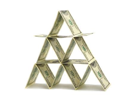 Money pyramid isolated on white background photo