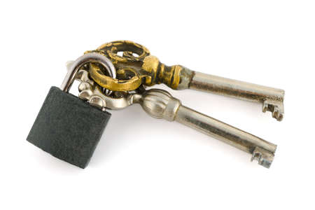 Keys and lock isolated on white background photo