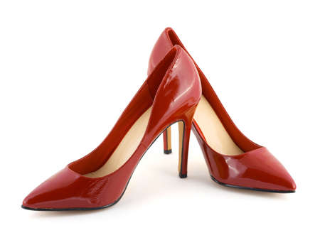 Red women shoes isolated on white background Stock Photo - 3223098