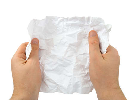 Hands and crumpled paper isolated on white background photo