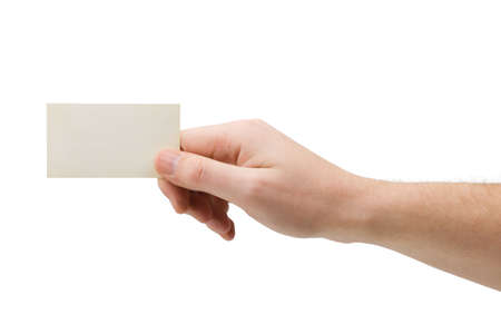 Paper card in hand, isolated on white background photo