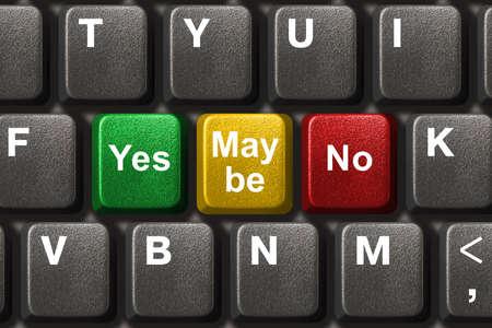 möglicherweise: Computer-Tastatur mit Ja, Nein und Vielleicht Tasten - Business-Konzept Lizenzfreie Bilder