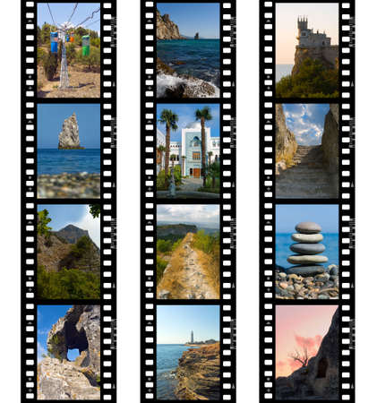 Frames of film, nature and travel (my photos), isolated on white background photo