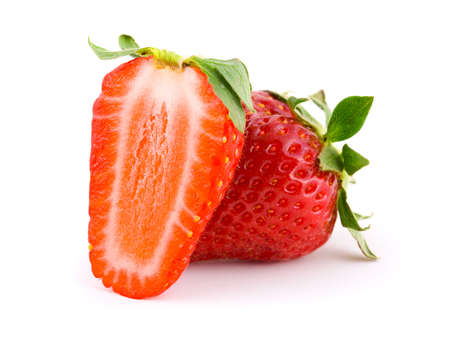 Two ripe strawberry, isolated on white background Stock Photo - 3275027