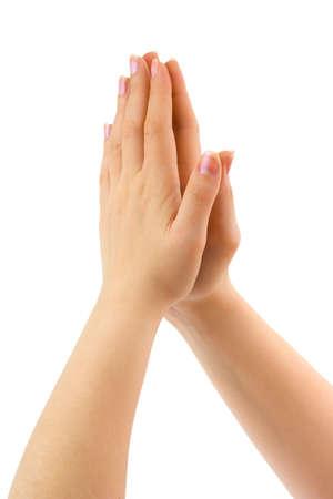 personas orando: Mujer rezando en manos aislado fondo blanco
