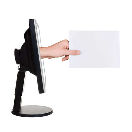 Computer screen and hand with card, isolated on white background Stock Photo - 3289731