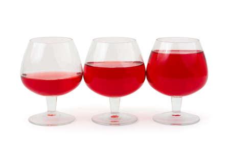 Three wine glasses isolated on white background photo
