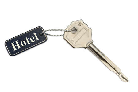 Key with label Hotel isolated on white background photo