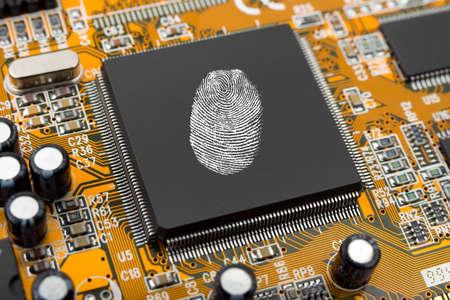 Fingerprint on  chip, technology security concept background Stock Photo - 3323725