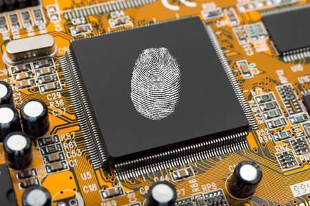 fingerprinting: Fingerprint on  chip, technology security concept background