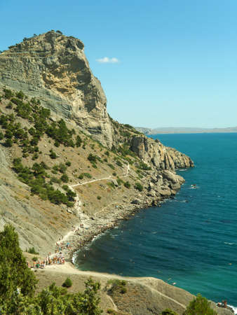 sky bachground: Rock and sea in Crimea, abstract nature landscape