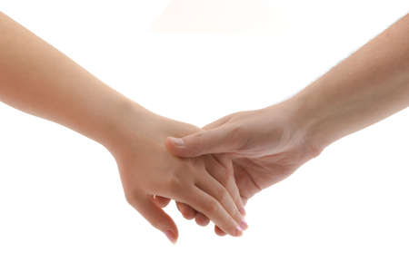 couple holding hands: Man and woman hands isolated on white background Stock Photo
