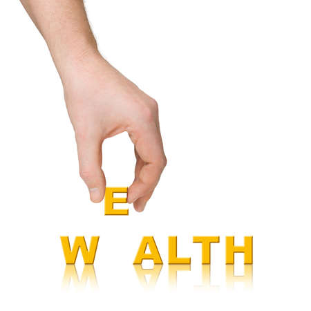 Hand and word Wealth, business concept, isolated on white background Stock Photo - 3343263