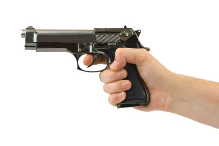 Hand with pistol isolated on white background Stock Photo - 3369072