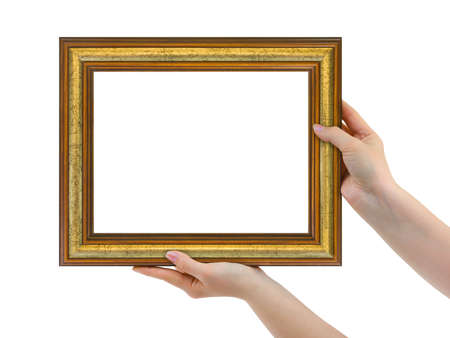 Frame in hands isolated on white background photo