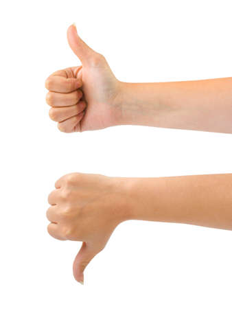 thumbs up symbol: Two gesturing hands isolated on white background