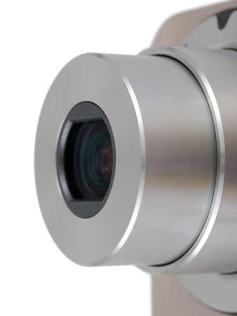 Macro of camera lens isolated on white background photo