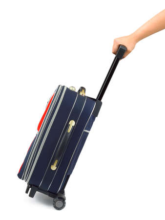 Travel case and hand isolated on white background Stock Photo - 3403828