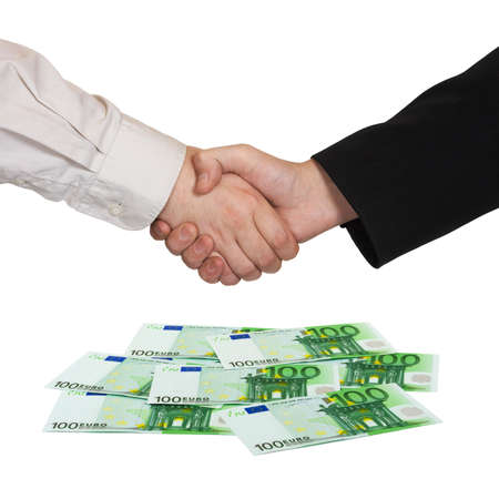 money euro: Handshake and money Euro isolated on white background