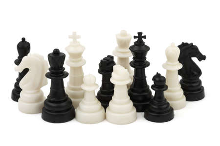 Chess pieces isolated on white background photo